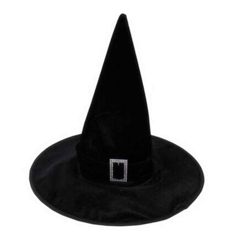 Black Velour Witch Sorceress Hat Hallowen Fancy Dress Party Costume Accessory Supplies Children Gift