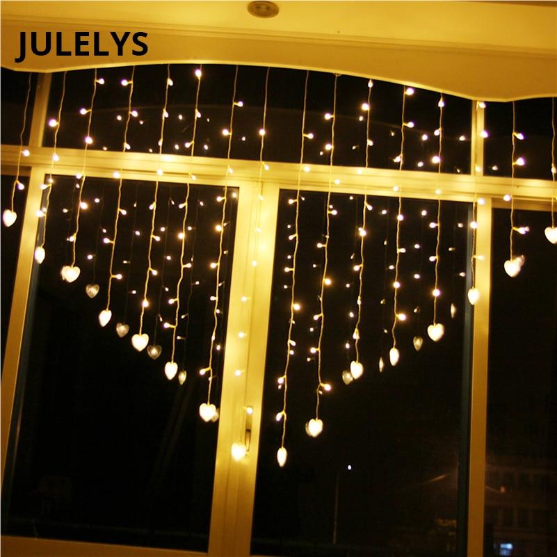 JULELYS 2 * 1.5 124 Izzók Szíve LED-es függönyök Karácsonyi - Üdülési világítás