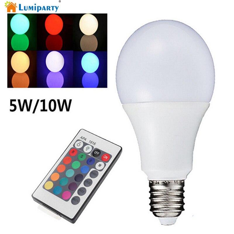 LumiParty RGB LED Bulb E27 5W 10W 110V 220V SMD5050 Multiple Color Remote Control RGB Lampada LED rgb 10w led bulb e27 e14 ac85 265v led lamp with remote control led lighting multiple colour