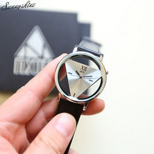 Fashion Men Women's Watches Unique Hollowed-out Triangular Clock Dial Black Fashion Watch wholesale
