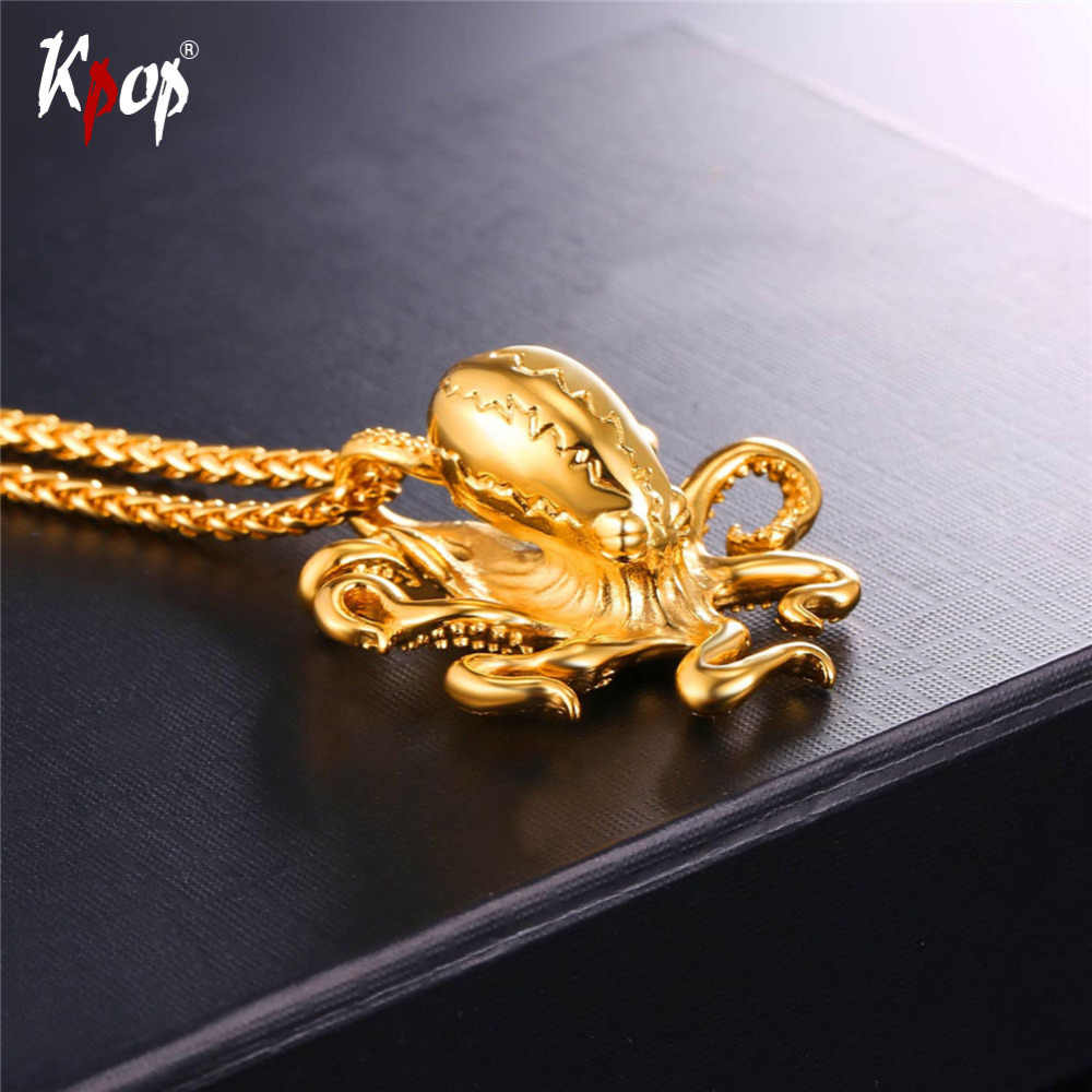 Kpop Stainless Steel Octopus Pendents Gold/Black Color With Chain For Women Men Sea Animals Jewelry Wholesale Necklaces GP046