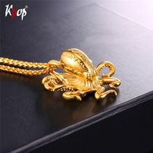 Kpop подвески из нержавеющей стали Осьминог Золотой/черный цвет