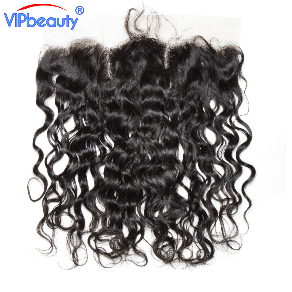 VIPbeauty Indian water wave Remy hair 13x4 ear to ear lace frontal closure human hair free