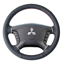 Case for Mitsubishi Pajero Car steering wheel cover Genuine leather DIY interior Car styling cover