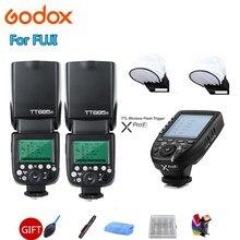 2* Godox TT685F TT685 Flash Speedlite 2.4G HSS 1/8000s TTL GN60 Wireless Speedlite + Xpro-F Transmitter for Fujifilm Fuji Camera цена