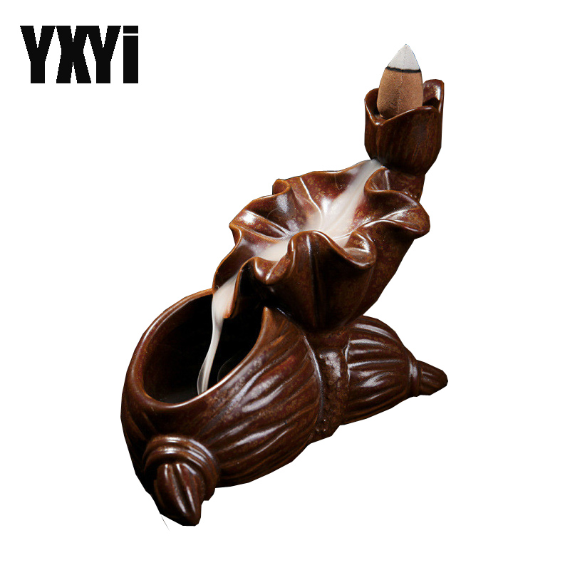 Free shipping Incense Lotus Burners Ceramic Ancient Glaze Handmade Crafts Backflow Holders Grace Home Office Furnishing Decor