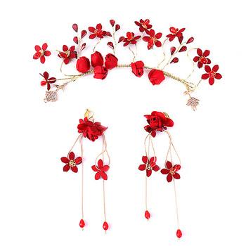Vintage kobiety ślubne akcesoria biżuteria do włosów czerwona tkanina kwiat pałąk tiary ślubne i kolczyki w kształcie korony zestaw dziewczyna chluba BH tanie i dobre opinie FORSEVEN Ze stopu cynku moda Metal TRENDY 37504 PLANT