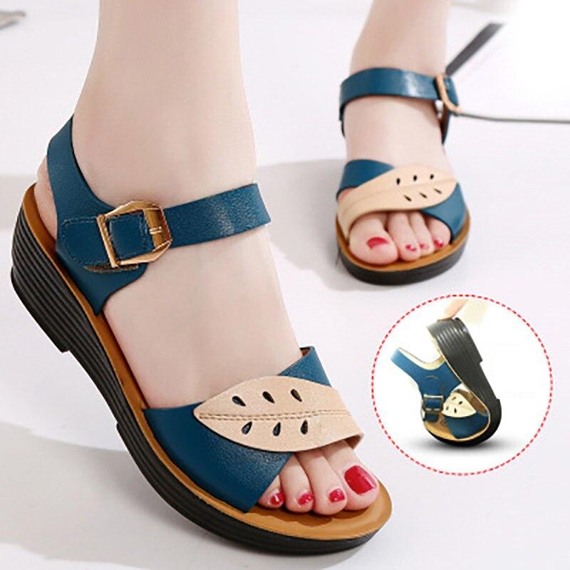 Women Sandals Comfort Mother Shoes Summer Women Shoes Slip-on Flat Sandals Ladies Shoes Woman Sandalie Female Plus Size Footwear