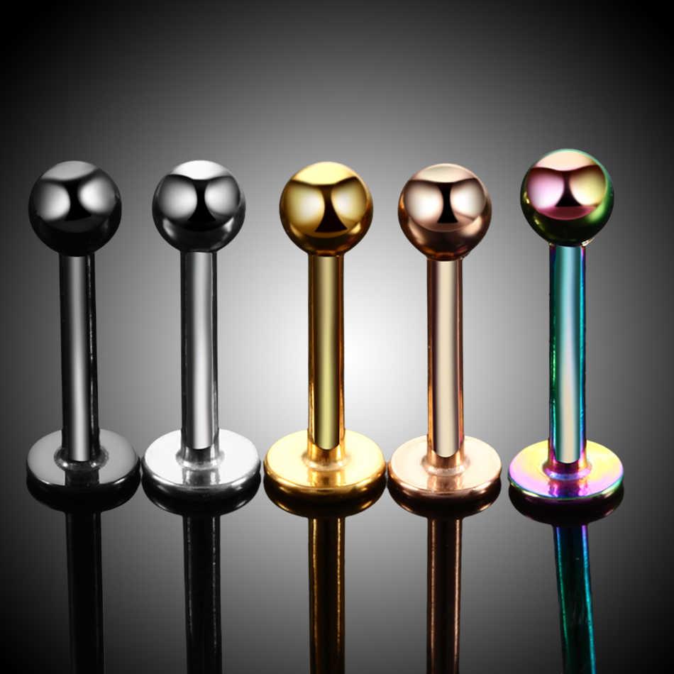 H-S Lote 1 pieza Acero quirúrgico colores surtidos Labret tachuela labio piercing de cartílago de oreja Tragus Helix anillo moda encantadora joyería
