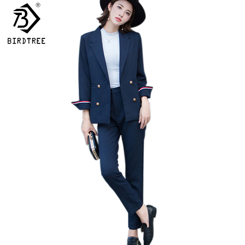 2018 Spring Women Business Suits Blazer Black Jacket+Pant Female OL Style Lady Formal Suits Double Breasted 2 Piece Sets S7D818A
