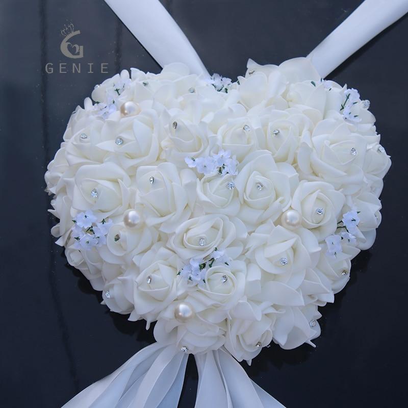 Genie Heart shaped Garland Wedding Car Decoration Artificial Foam Rose Pearls Handle Mirror Door Decor DIY