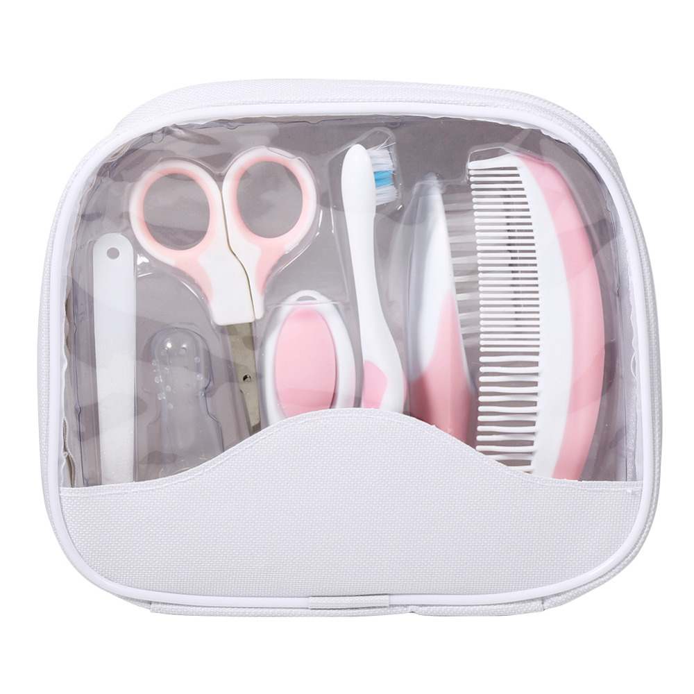 7 Pcs Set Baby Grooming Care Manicure Set Healthcare Kit Baby Infant Daily Nurse Tool Pink