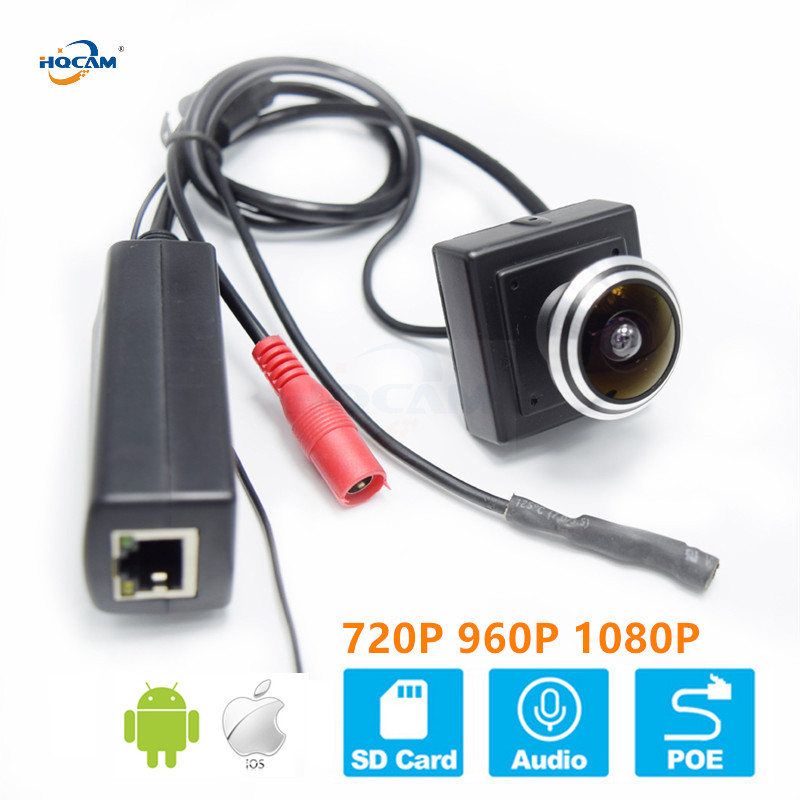 HQCAM 720P 960P 1080P Micro SD card POE Wide-angle fisheye Mini IP Camera audio onvif Security CCTV Indoor <font><b>Watching</b></font> Birds camhi image