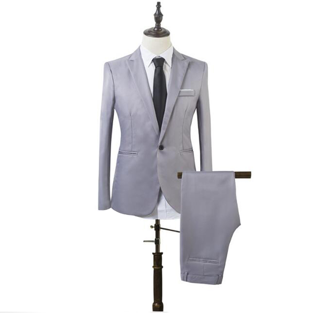YJSFG HOUSE New 2PCS Men's Blazer Suit Slim Fit Tuxedo Business Coat Pants Trousers Formal Wedding Groom Smart Casual One Button