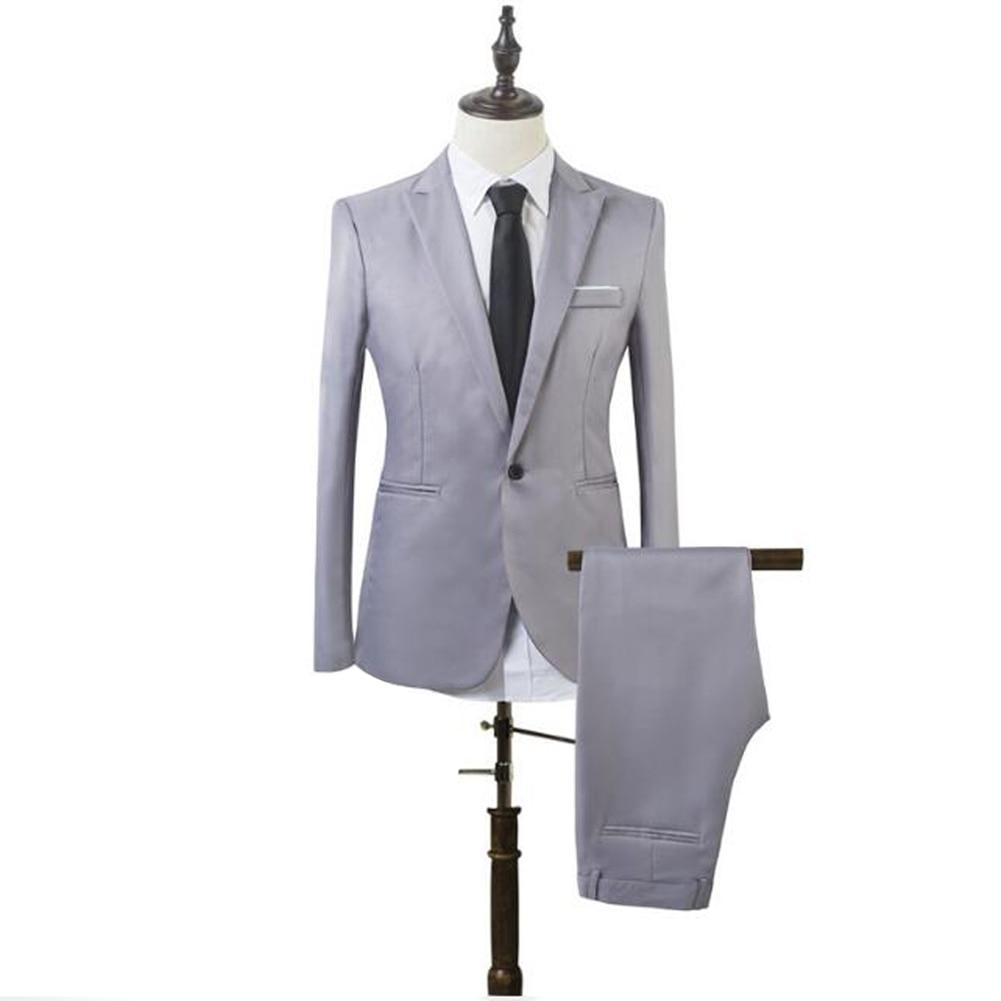 YJSFG HOUSE New 2PCS Men's Blazer Suit Slim Fit Tuxedo Business Coat Pants Trousers Formal Wedding Groom Smart Casual One Button