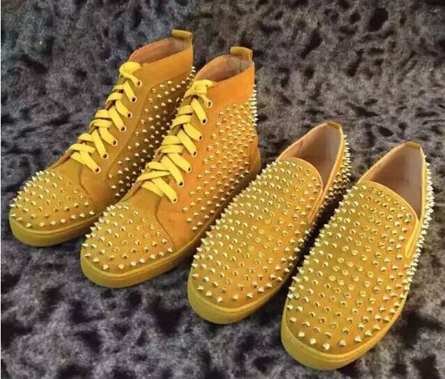 Casual Shoes Lace up Yellow suede spike