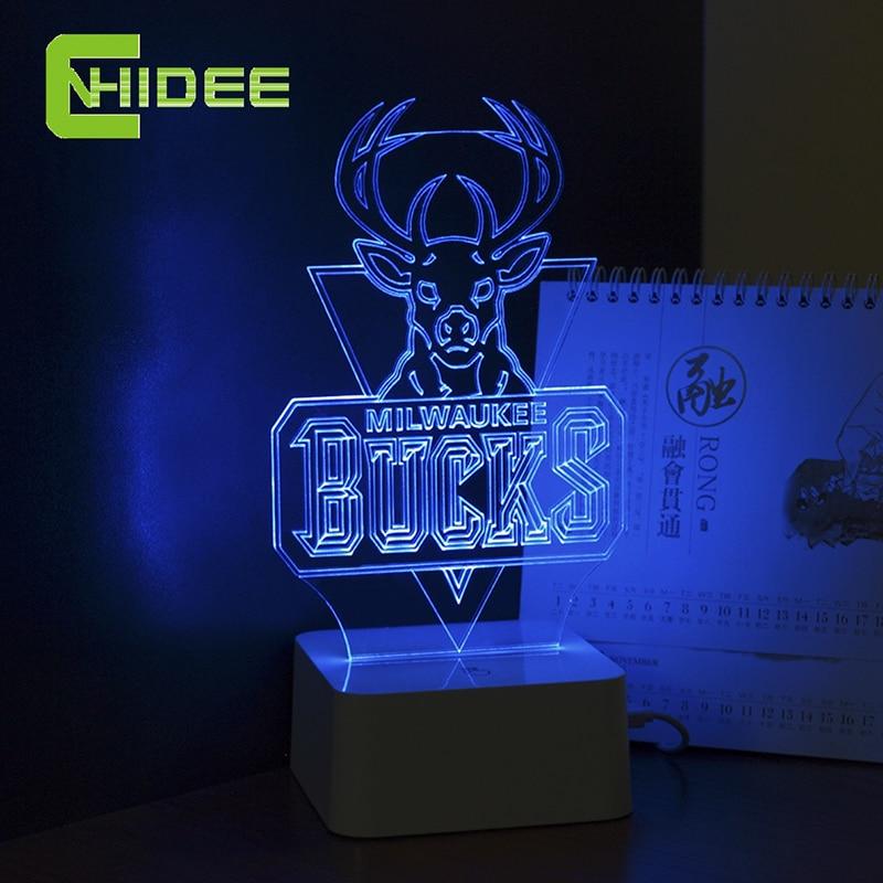 CNHIDEE Innovative USB Lamp for Bucks NBA Basketball 3d Led Night ...
