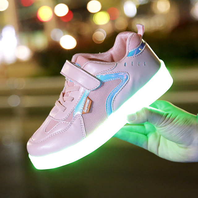 USB Charger Lighted Shoes for Boy&Girl Glowing Sneakers Light Up Trainers Kid Casual Luminous Sneakers LED Slippers