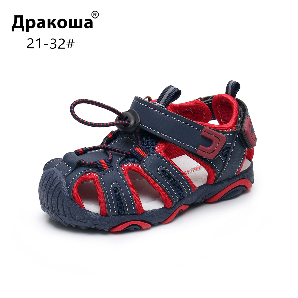 Apakowa Toddler Little Boys Closed Toe Summer Sandals Kids Quick Drying Pool Beach Running Shoes Sport Sandals With Arch Support