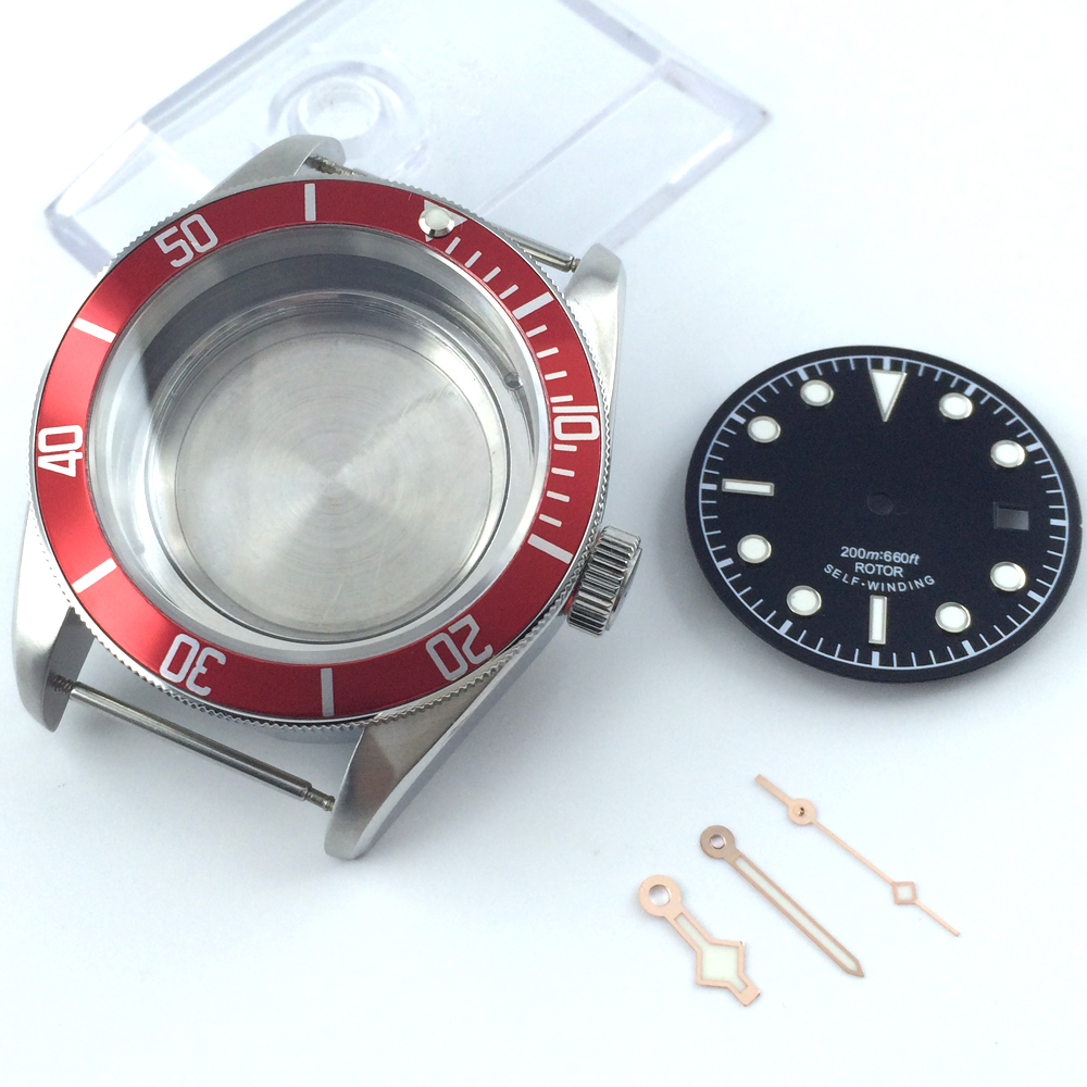 41mm a set sapphire cystal Watch Case + dial + hand fit ETA 2824 2836 MOVEMENT цена и фото