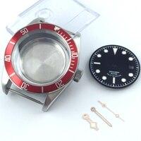 41mm um conjunto caso relógio de safira cystal + dial mão ajuste eta 2836 mingzhu 2813 miyota 82 series movimento