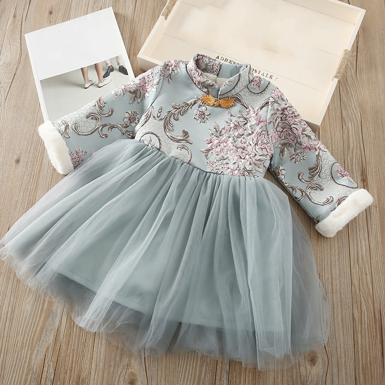 8d3c077e9726 2018 1-6 Years New Style Girls' New Year Wear Winter Baby Princess Dress  Children's Wear Embroidered Tang Suit Children's Dress