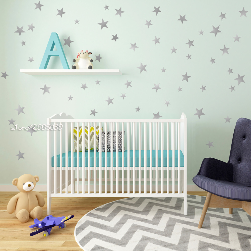 Five Point Star Wall Stickers Metallic Gold Vinyl Wall Decals