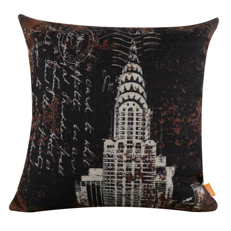 LINKWELL 18x18 Vintage Black New York Empire State Building Burlap Cushion Cover Throw Pillowcase Word Shabby Chic Antique Look