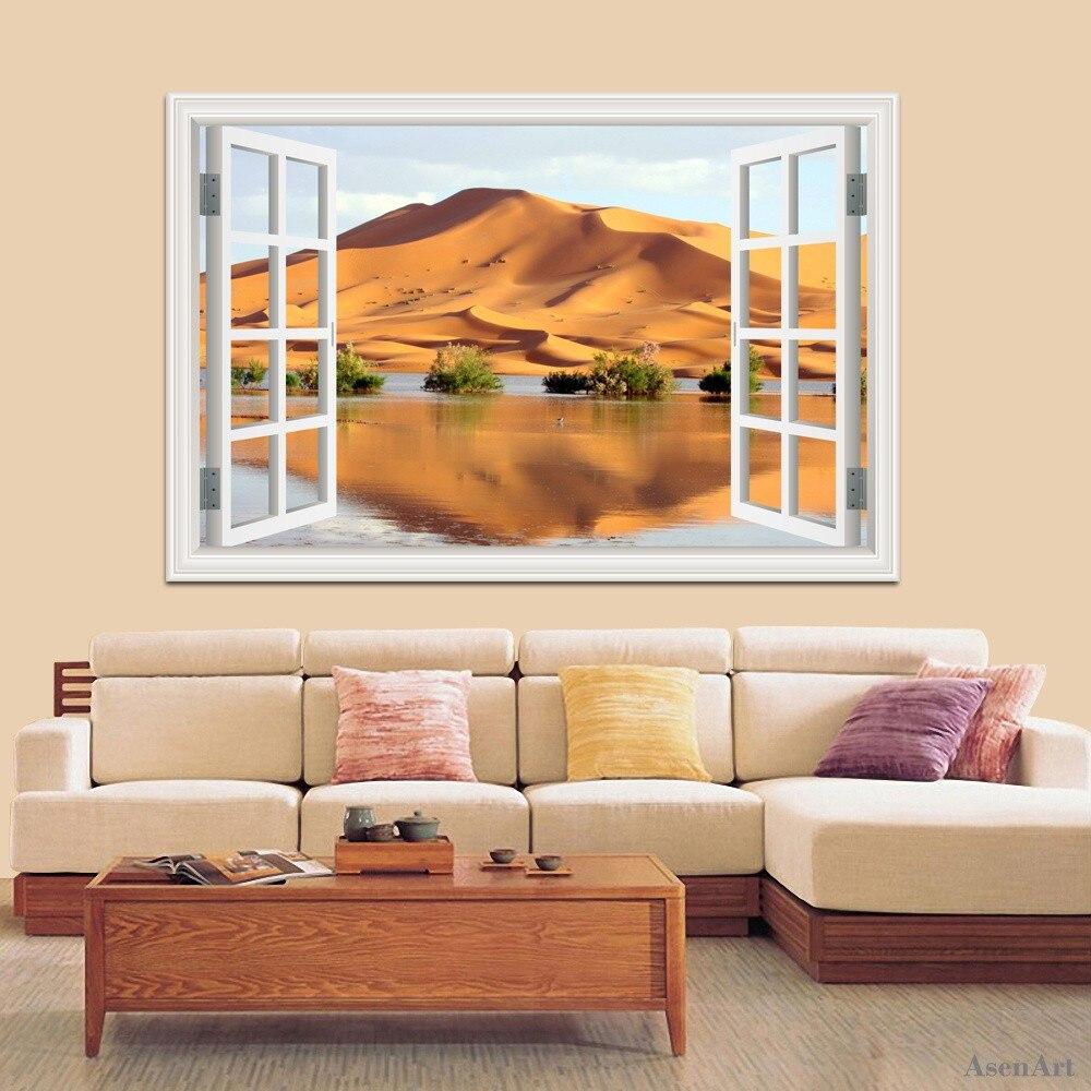 3d Fenster-ansicht Wand Deacls Vinyl Wüstenlandschaft Wandaufkleber