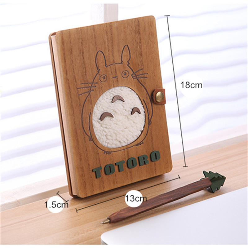 Totoro Wooden Notebook Set Anime Ballpoint Note Book With Pen Notebook Set Diary Day Journal Stationery School Supplies 18cm недорго, оригинальная цена