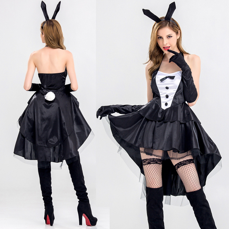 Halloween Black Women Sexy Bunnies Dress with ear headpiece Club bunny girl dress Lady sexy costume cross dress Large size