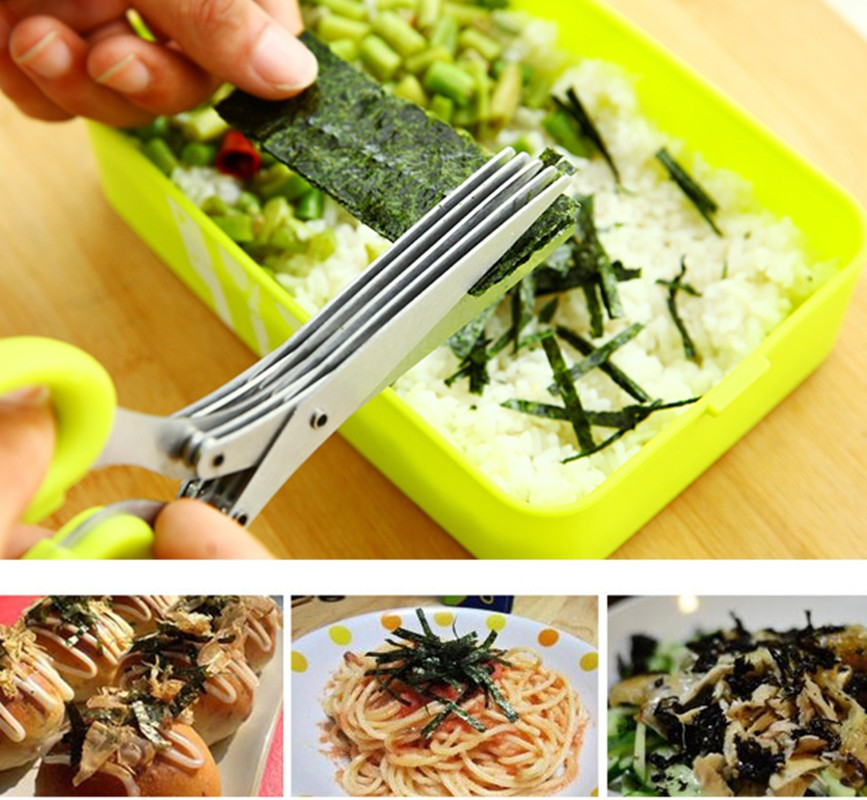 Gunting Dapur 5 Multilayers Stainless Steel untuk Cutting Green Onion Sushi Scrollion Scallion Cut Herb Cooking Spices