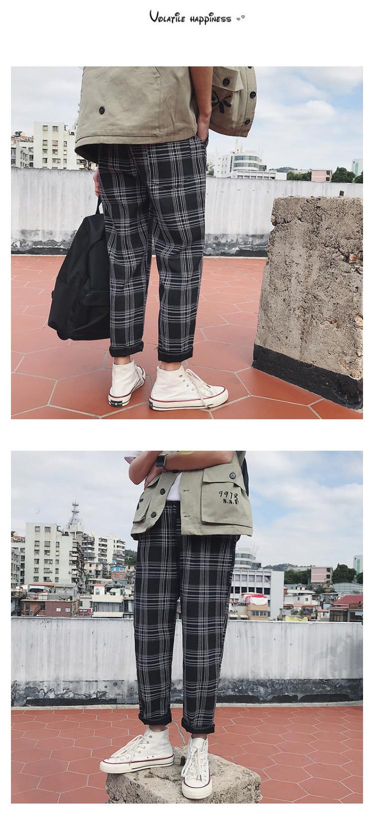 LAPPSTER Streetwear Yellow Plaid Pants Men Joggers 19 Man Casual Straight Harem Pants Men Korean Hip Hop Track Pants Plus Size 13