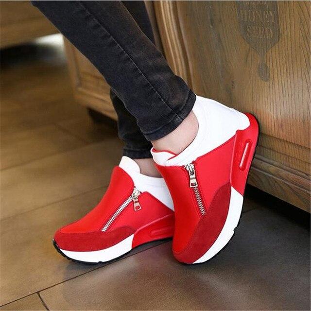 2018 Yeni Kadın rahat ayakkabılar Yüksekliği Artan Fermuar Nefes Kadınlar Yürüyüş Daireler Eğitmenler Ayakkabı Sonbahar Platformu 35-42