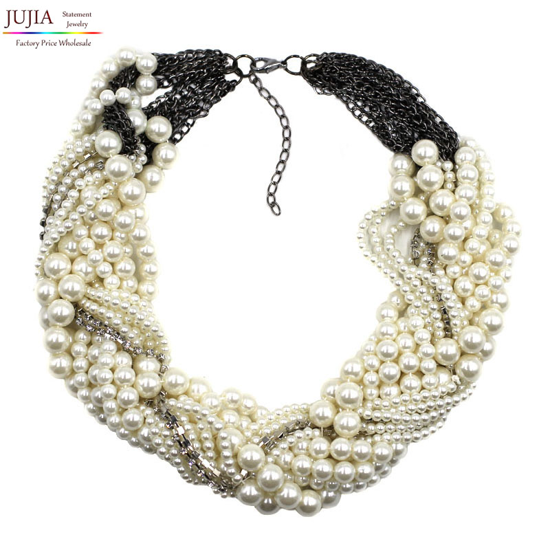2017 New fashion Z bib collar necklace & pendant chunky luxury choker simulated pearl Necklace statement necklace coin fringe statement choker necklace