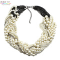 2017 New fashion Z bib collar necklace & pendant chunky luxury choker simulated pearl Necklace statement necklace