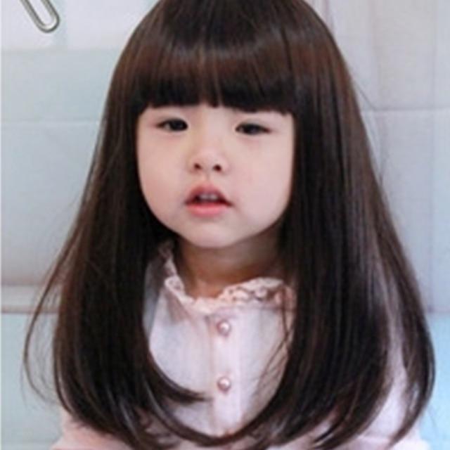 Freeshipping Beautiful Baby Long Straight Hair Neat Bangs Wig Gentle