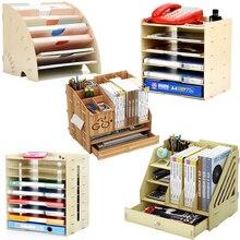 Coloffice Creative1PC большая емкость деревянная подставка для книг Многофункциональная офисная настольная коробка для хранения данных стойка для школы и офиса