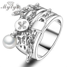 2016 New Arrival Fashion Key Ring pear and Lock adorns antique silver rings cuff for female women engagement and wedding R422