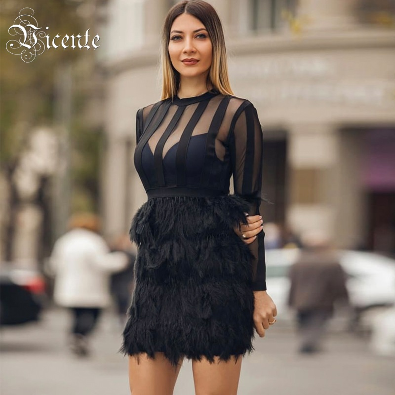 Vicente All Free Shipping HOT 2019 New Chic Feathers Embellished Long Sleeves Mesh Patchwork Celebrity Wholesale
