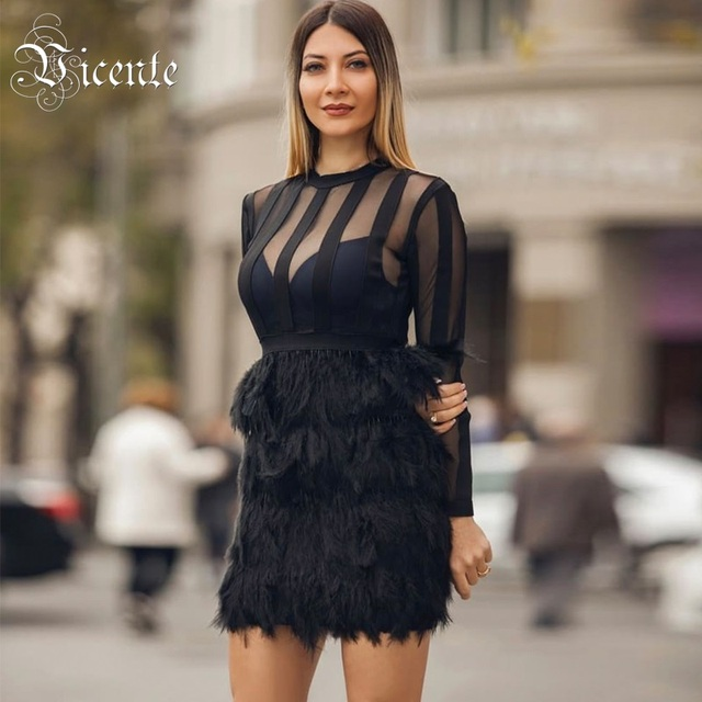 0b0e3b73025aa US $78.98 |Vicente HOT 2019 New Chic Elegant Feathers Embellished Long  Sleeves Sexy Mesh Patchwork Celebrity Wholesale Bandage Dress-in Dresses  from ...