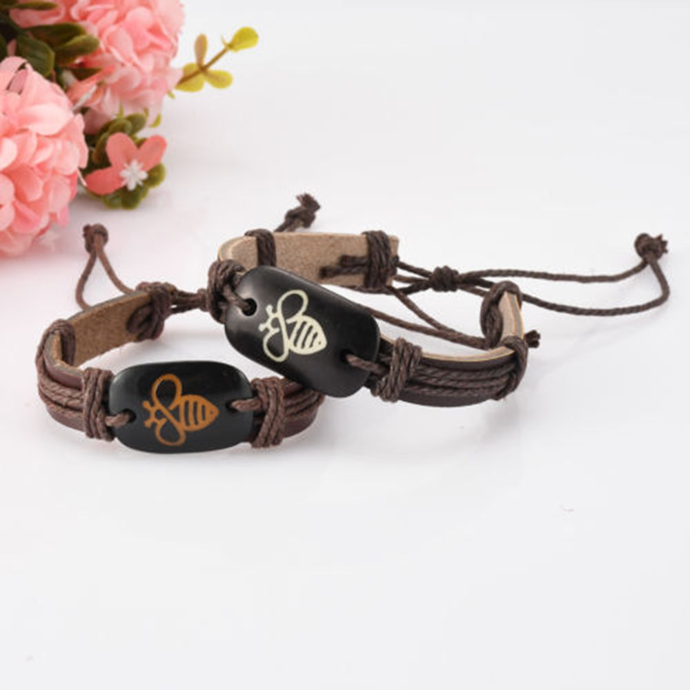 US $0.69 15% OFF|Customized Lovely Bee Leather Handmade Lace Up Adjustable Punk Women Men Unisex Bracelets|Charm Bracelets| |  - AliExpress