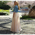 2016 New Spring Long Tulle Skirt Empire Waistline A Line Floor Length Maxi Skirt Classic Layers Tulle With Lining Adults Skirts
