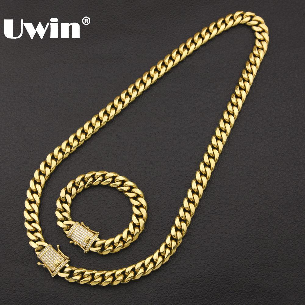 Uwin Top Qualité En Acier Inoxydable Avec Cristal CZ Zircone Hophop Boîte Fermoir Bijoux Miami Cuban Link Bracelet et Chaîne Hommes collier