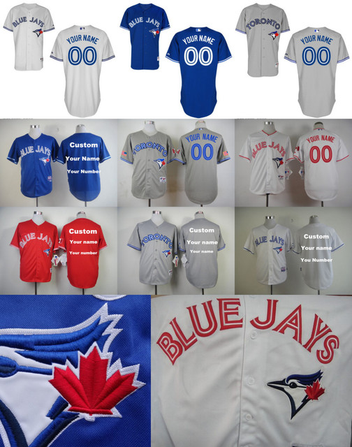 62afb96a2 Personalized Toronto Blue Jays Custom Jersey Any Name Any Number Customized  Shirts Blue White Gray Red
