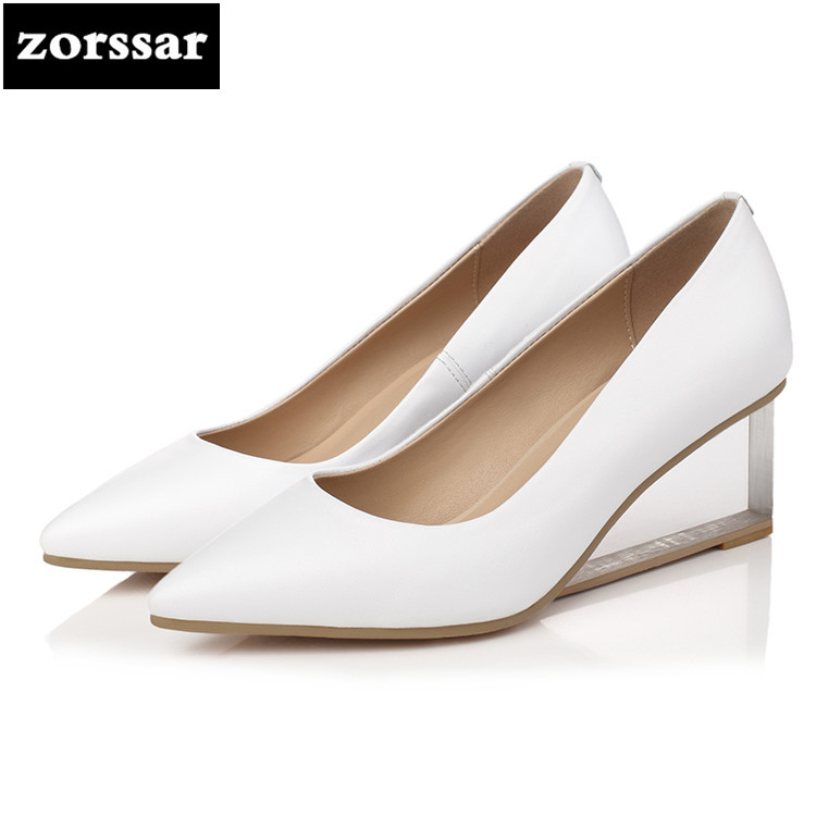 {Zorssar} 2018 spring New fashion Genuine Leather womens pumps shoes pointed toe Wedges High heels ladies Office Career shoes new 2017 spring summer women shoes pointed toe high quality brand fashion womens flats ladies plus size 41 sweet flock t179