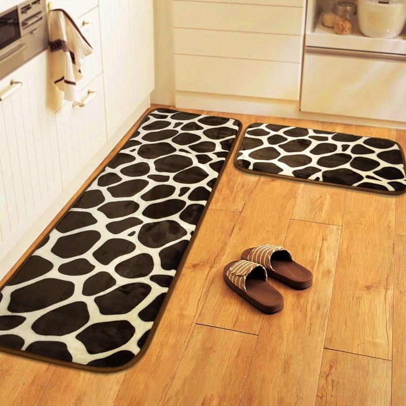LIU Leopard 40*60+40*120CM Coral Velvet Kitchen Mat Bathroom Carpet Absorb