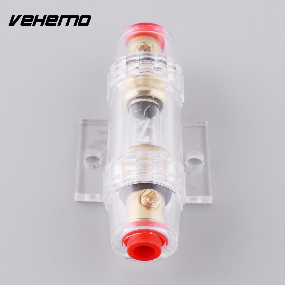 Vehemo Горячая 60A держатель предохранителя блок для автомобиля сабвуфер аудио в линии усилитель кабель Калибр позолоченный