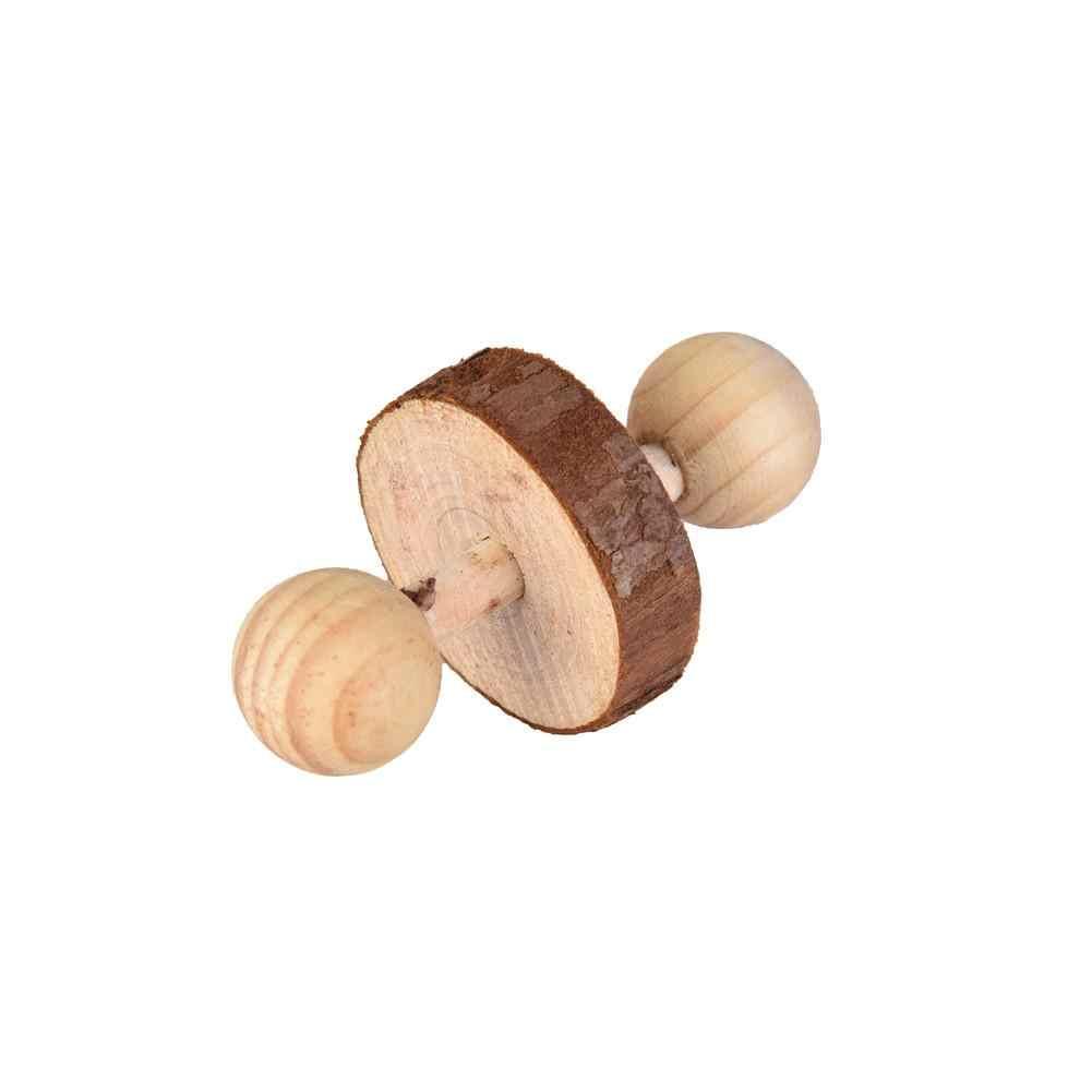Деревянное животное хомяк игрушки-Жвачки Шиншилла молярные Прорезыватели ПЭТ морская свинья маленькие гантели колеса Зубы шлифовальные упражнения прочные игрушки