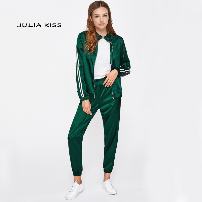 Women Side Striped Satin Zip Through Tracksuit and Trainer Joggers Satin Sets ...